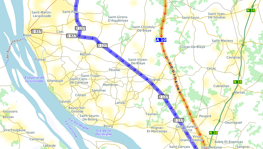 route with and without autoroute